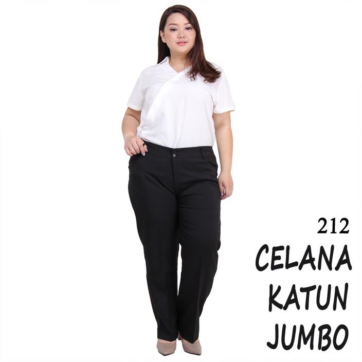 Celana Kerja Wanita Jumbo Ukuran Besar Untuk Orang Gemuk Warna Hitam Bahan Katun Import Murah
