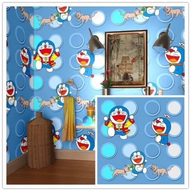 Paling Murah Wallpaper Sticker Polkadot Biru Putih Kartun Anak Doraemon Lucu Imut 10 M Shopee Indonesia