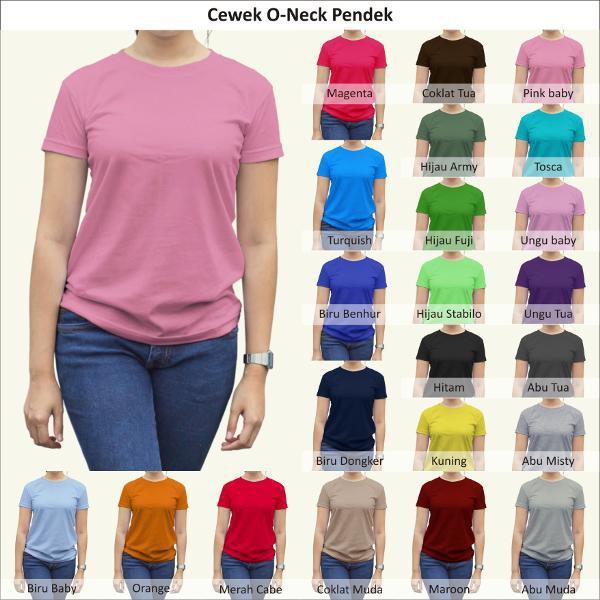 Kaos Tshirt / Kaos Polos Oneck Wanita / Cewek, Combed Murah Grosir #1 |