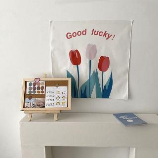 lukisan gantung dinding desain bunga tulip bahan kain
