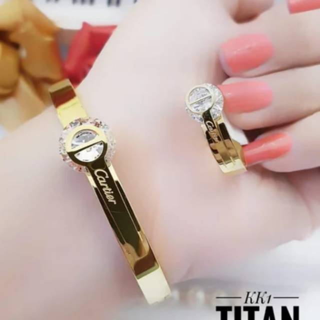 Titanium perhiasan gelang dan cincin Cartier#9387 | Shopee ...
