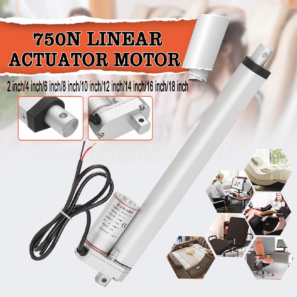 """Heavy Duty 18/"""" Linear Actuator with Bracket Stroke 12 Volt DC 200 Pound Max Lift"""