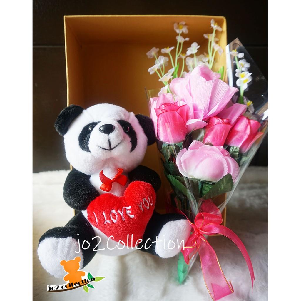 Bouquet Boneka Panda Coklat Fererro Rocher Dalam Karangan Bunga Shopee Indonesia