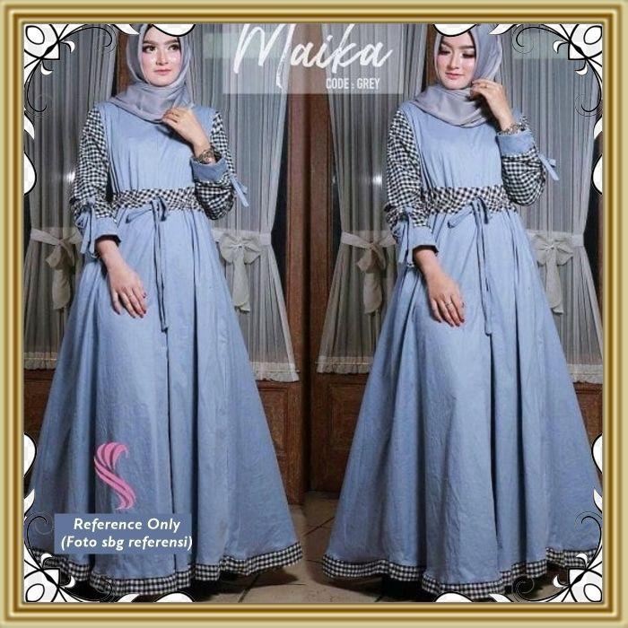 124 Maika Dress Grey Baju Wanita Muslim Kekinian Terkini Busana Muslim Pakaian Murah Wanita Modis Shopee Indonesia