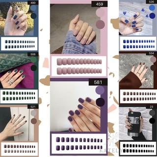 Kuku Palsu Short Fake Nail Set Kuku Palsu Isi 24 Pcs Include Lem thumbnail