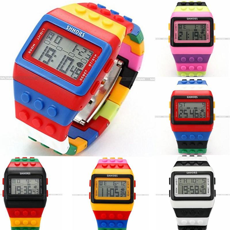 ... SHHORS Jam Tangan Sport Digital LCD Warna Merah + Biru + Strap Silikon led090 ...