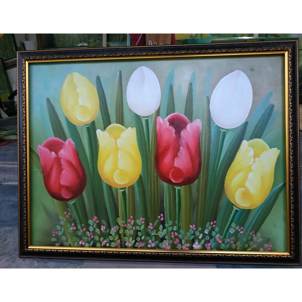 Lukisan kanvas ditambah bingkai pigura ukuran 60 x 90 ...