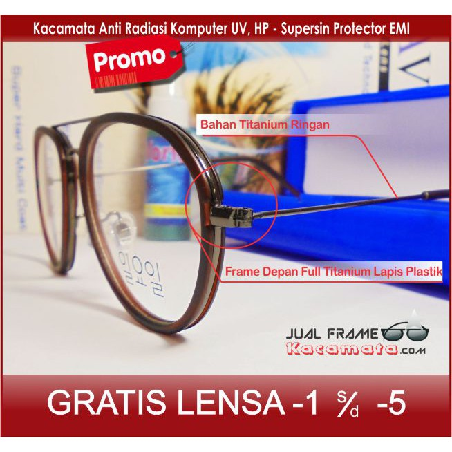 Half Frame Kacamata Bulat Lucu Casual Baca Min Minus - Pria Wanita Laki  Cewe - A 132  25f74ae85a