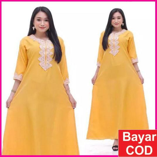 Dress Arab Terbaru Panjang Lengan Pendek Busui Daster Muslimah HYget Super  Dress Arab
