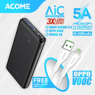 Powerbank 10000mAh ACOME 2input 3output AiC Fast Charging OPPO VOOC/iPhone PD/QC 3.0 Free Kabel VOOC