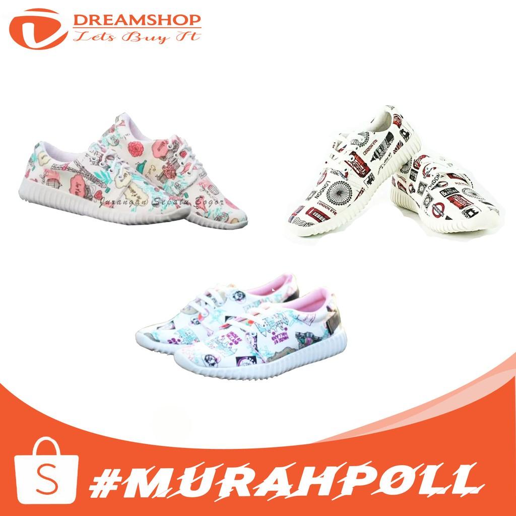 Sepatu Kets Sneakers Kasual Wanita Motif Bunga ...