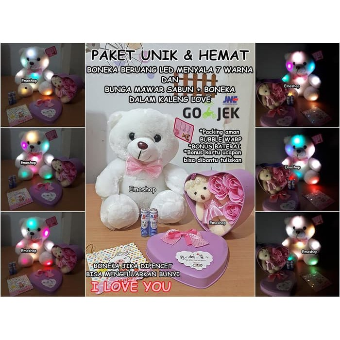EMO103 6 Kelopak Mawar sabun+Boneka I Love U- kado valentine murah ... 87a1e1cbd2