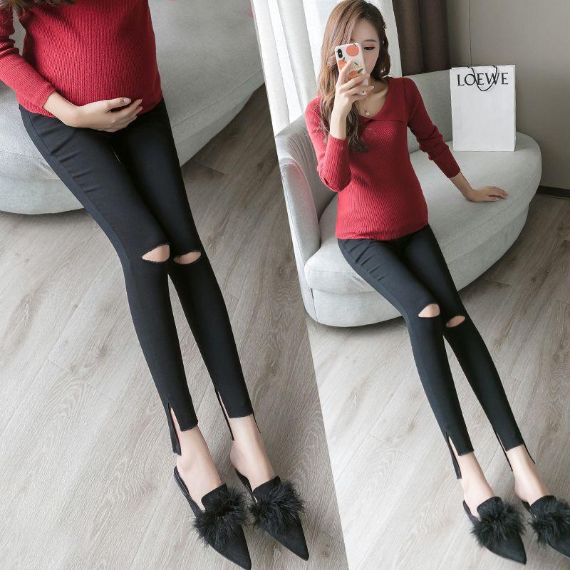 Celana Legging Pensil Panjang Model High Low Cut Hem Belah Untuk Wanita Hamil Shopee Indonesia