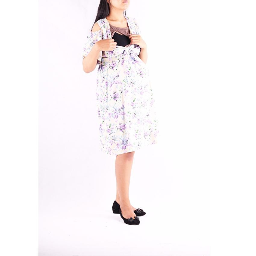 Mama Hamil Baju Hamil Dress Menyusui Salur Kaos - Abu Tua - FREE 1 Celana Dalam