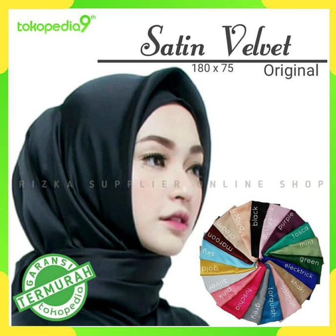 Terbaik Hijab Pashmina Murah Pashmina Satin Velvet Termurah Hijau Tosca Shopee Indonesia