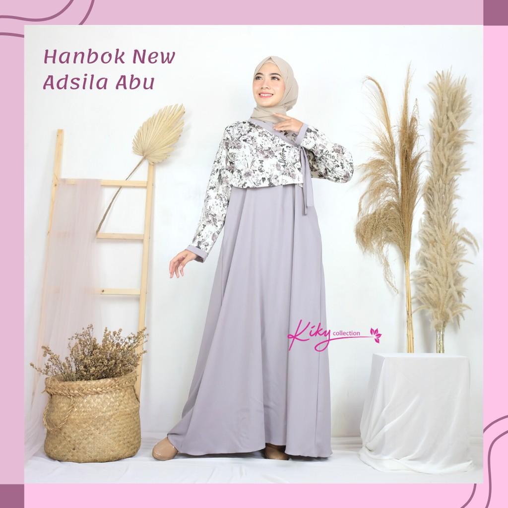Fashion Muslim Kekinian Gamis Ala Korea Cantik Busana Muslim Remaja Hanbok  New Adsila Size XL