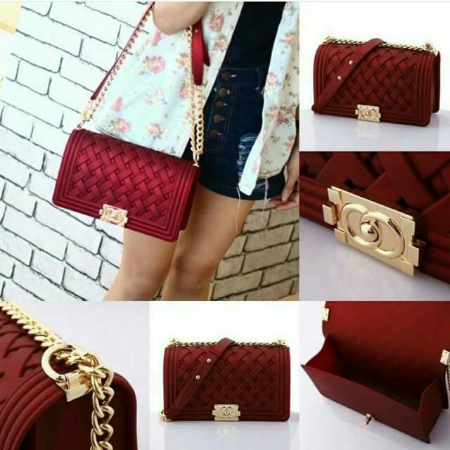 Tas Import Branded CHANEL BOY ANYAM TIKAR Uk 25Cm   Tas Fashion Batam Murah   b00df71247