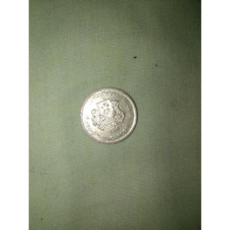 koin singapura 5 cent th 1986
