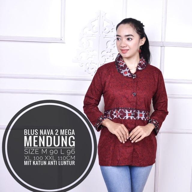 Batik Diana- Blouse batik wanita lengan panjang untuk muslimah dan hijaber bahan katun strecth   Shopee Indonesia