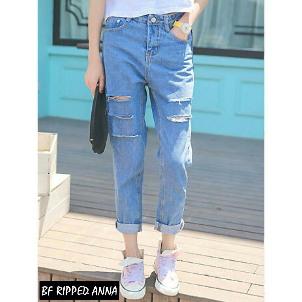 Celana Wanita Soraya Boyfriend BF Sobek Ripped Jeans Light Blue Murah | Shopee Indonesia
