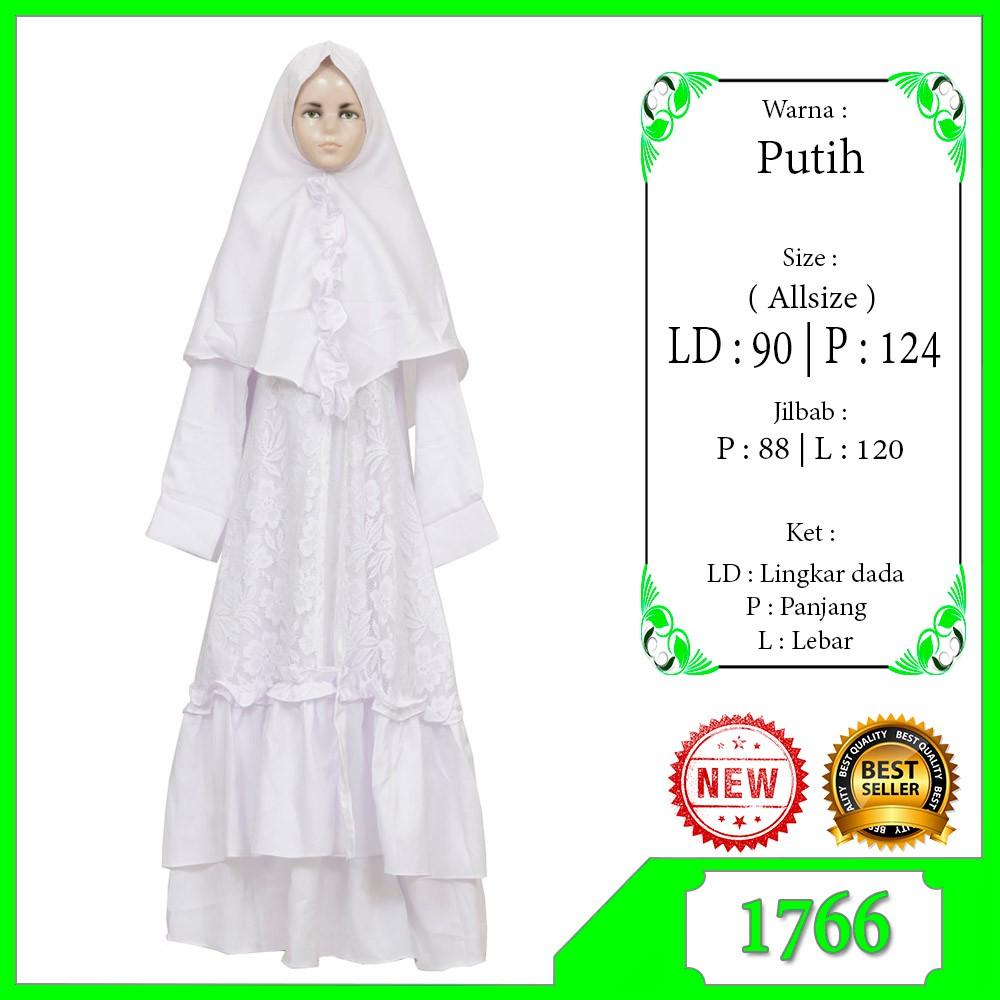 Gamis Anak Perempuan Warna Putih Baju Muslim Anak Tanggung usia 11-11 tahun  Bahan Adem