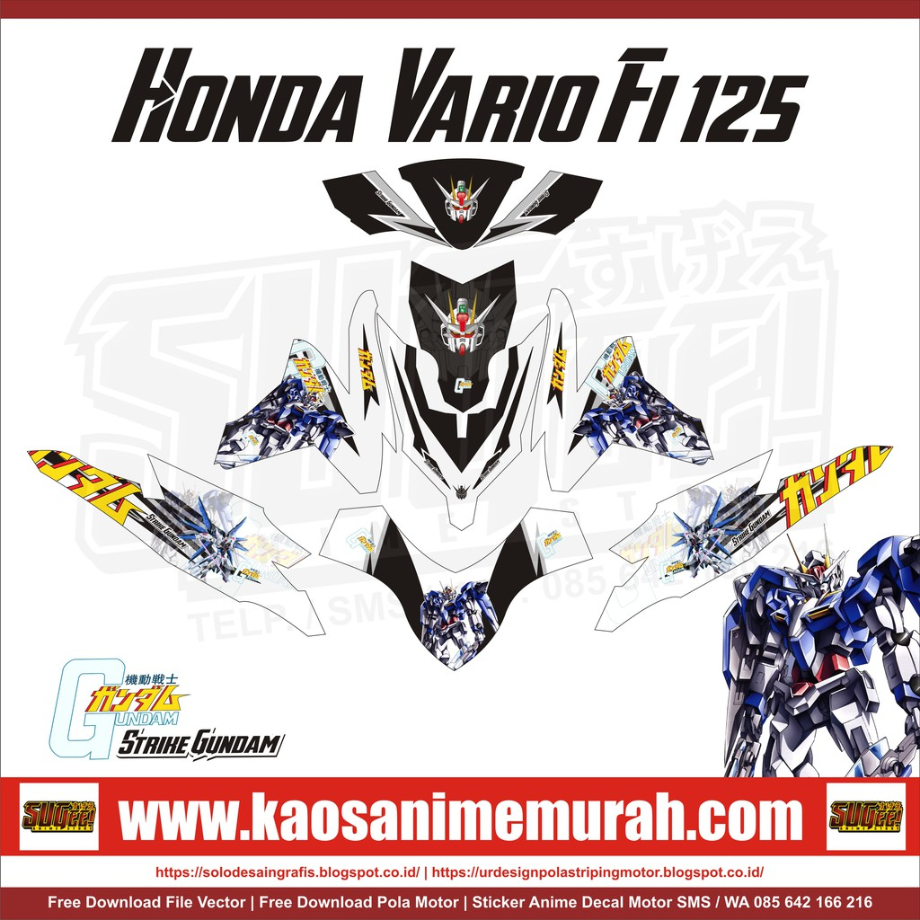 Sticker anime decal motor honda vario fi 125 gundam shopee indonesia