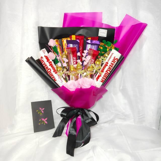 Po Buket Bunga Flanel Coklat Dan Snack Hadiah Lebaran Hari Raya Valentine Ulang Tahun Anniversary Shopee Indonesia