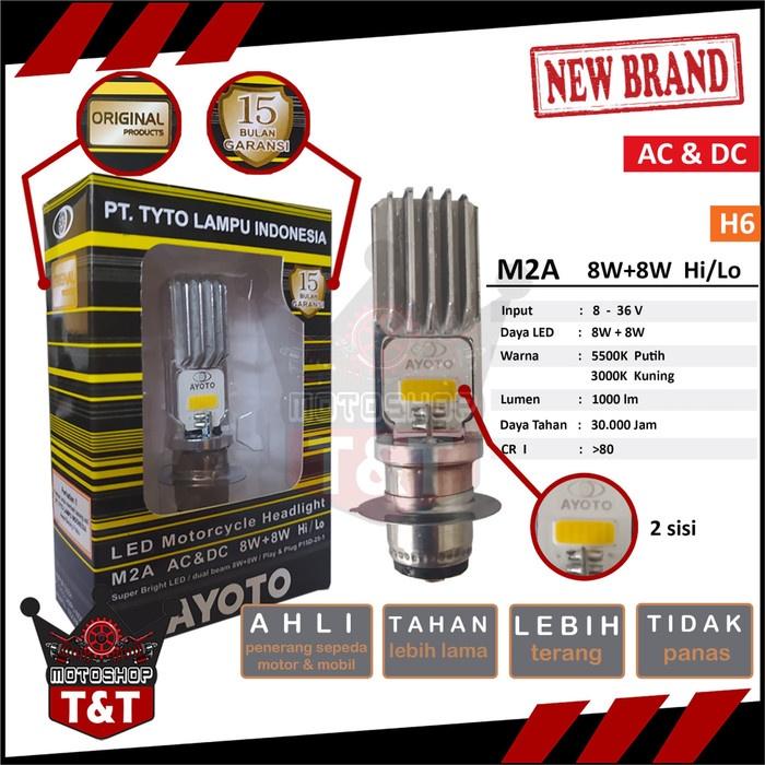 Lampu Depan LED Motor AYOTO M2A H6 ACDC Lampu Putih Kuning - Putih Terbatas