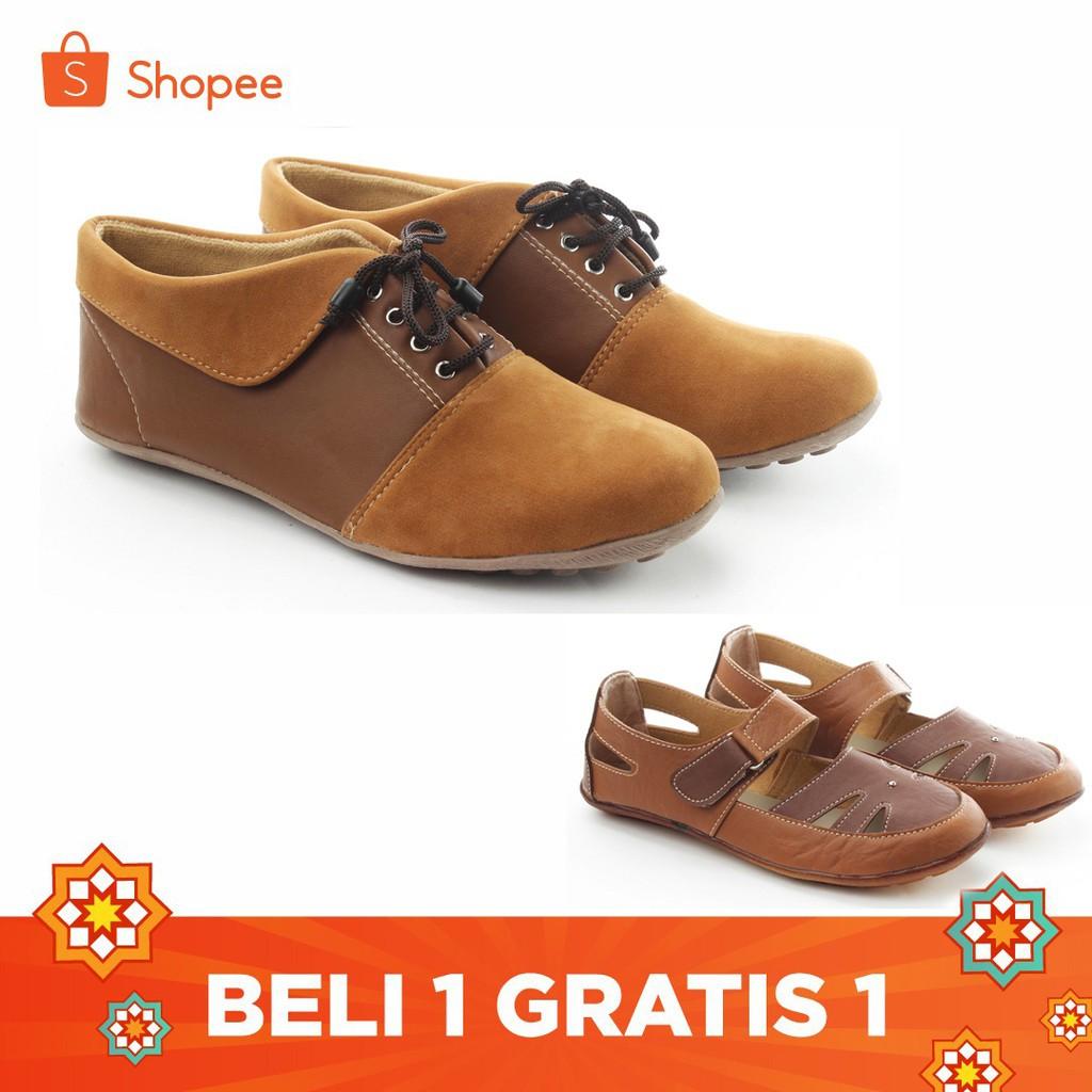 Yutaka Sepatu Wanita N30 Jahe + Gratis Sepatu Sp30 Tan | Shopee Indonesia