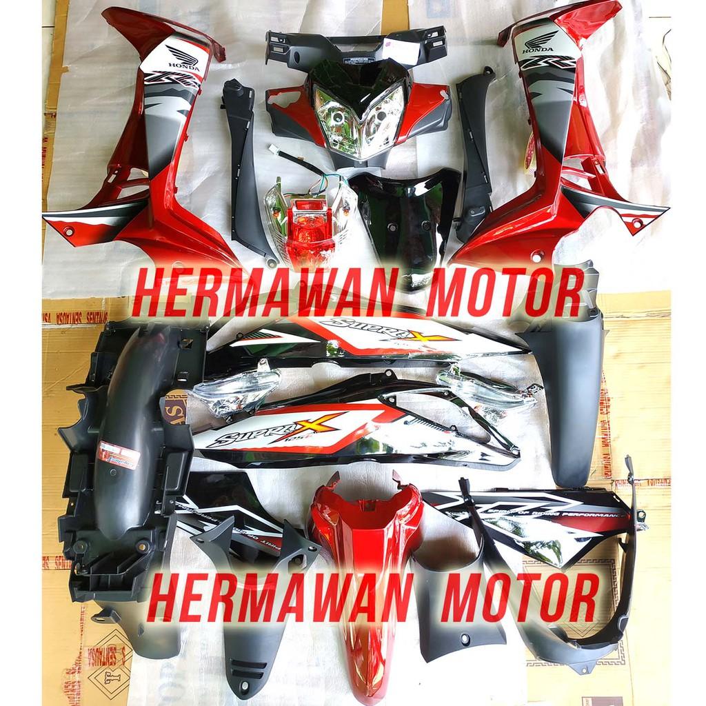 Full Satu Motor Dan Lampu Honda Supra X 125 Th 2007 2013 Warna Merah Dan Stiker Shopee Indonesia