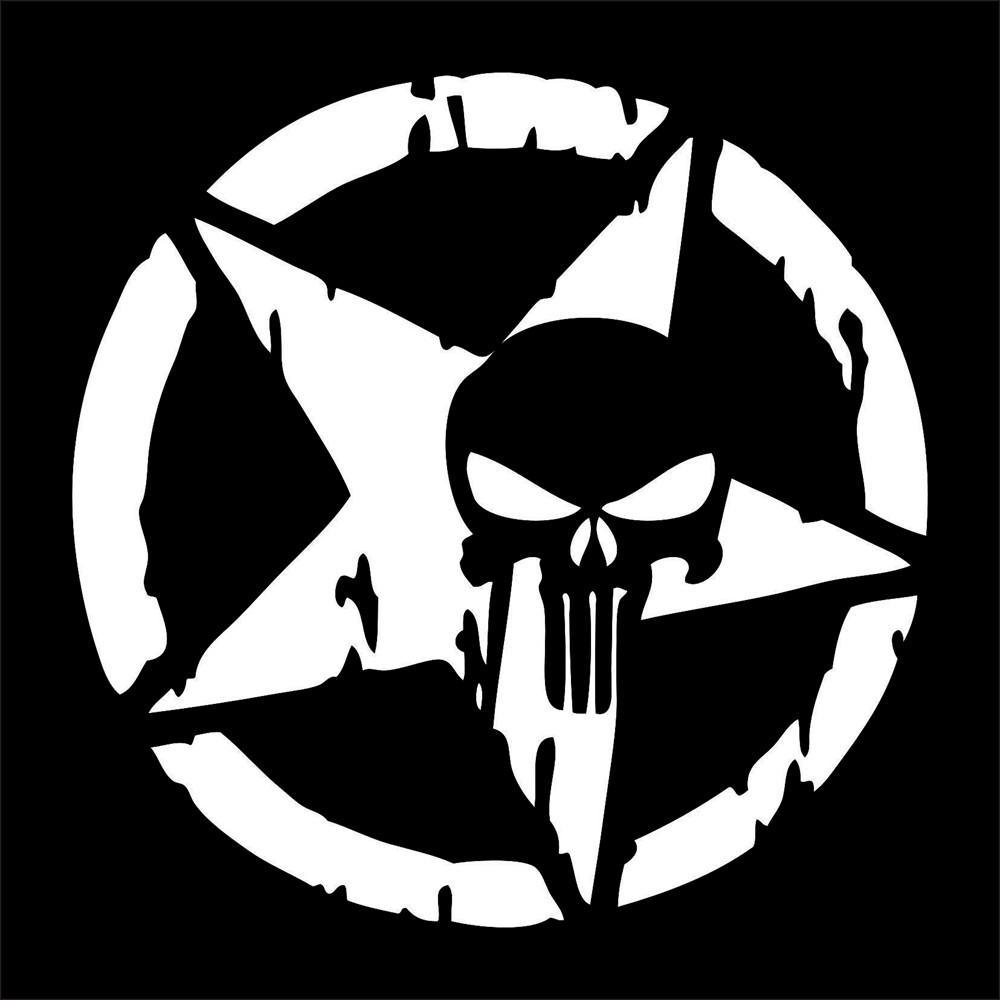 Stiker Decal Mobil Reflektor Motif Bintang Logo The Punisher 13cmx13cm Warna Hitam Putih Shopee Indonesia