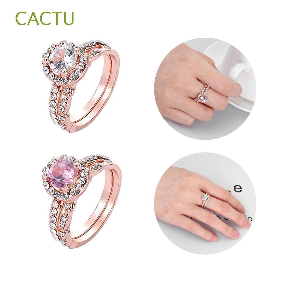 Set Perhiasan Cincin Emas 18K Hias Batu Permata Rose Gold ...