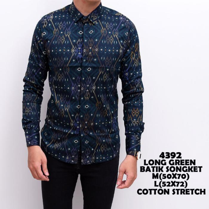 Kemeja Batik Songket Pria Panjang Kerja Kantor Slimfit Baju Batik Hijau Tosca M