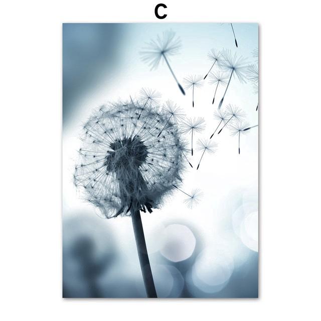Lukisan Kanvas Print Bunga Dandelion Biru Untuk Dekorasi Ruang