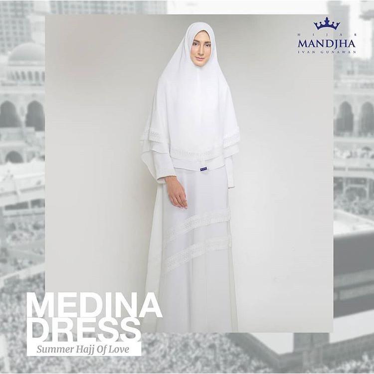 Medina Dress Putih Mandjha Ivan Gunawan Set Khimar Shopee Indonesia