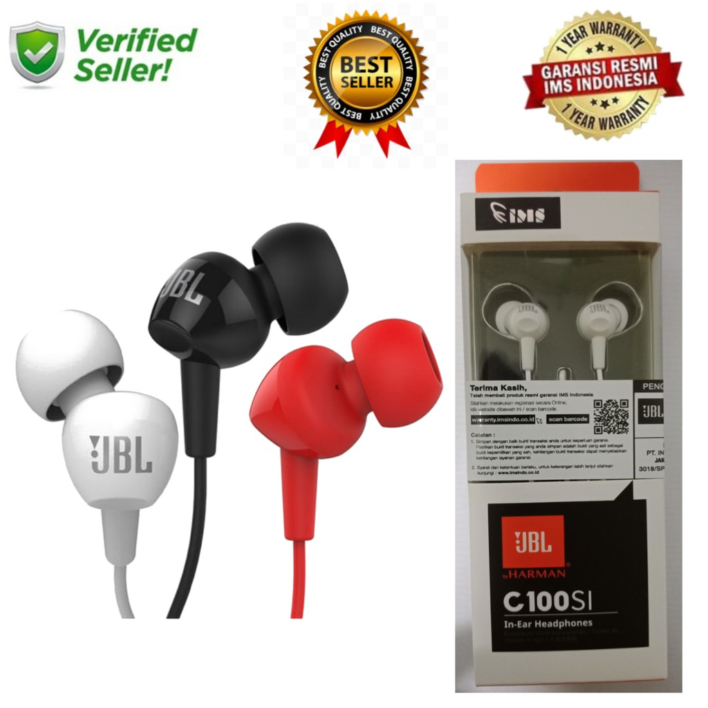 Jbl C100si In Ear Headphones With Mic C100 Si Earphone Original Ims T110 Headphone Pure Bass Microphone And Flat Cable Garansi Bkn Handsfree Resmi Shopee Indonesia