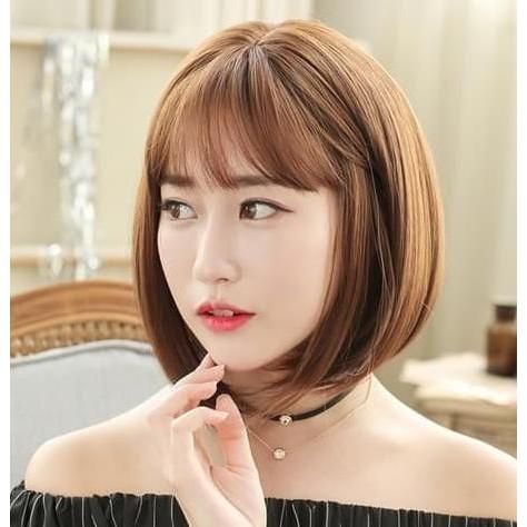Tren Model Wig Pendek Coklat Pirang Rambut Palsu Bob Korea Bangs Light Brown Shopee Indonesia