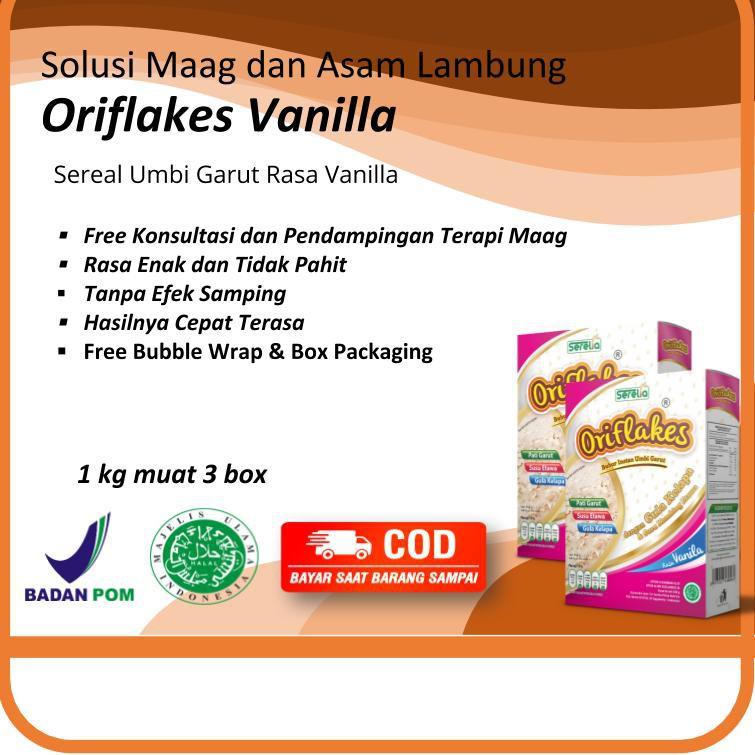 Oriflakes Vanilla Obat Herbal Maag Asam Lambung Gerd Sereal Umbi Garut Perut Kembung Nyeri Ulu Hati