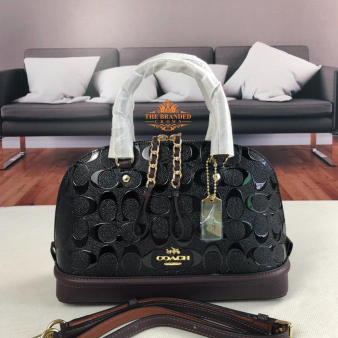 Tas Coach 55450 Mini Sierra Debossed Signature Patent Leather
