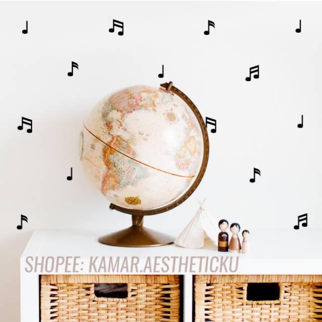 Stiker Music Note Dekorasi Dinding Wall Sticker Decal Aesthetic Estetik Emas Gold Hitam Black Musik Shopee Indonesia