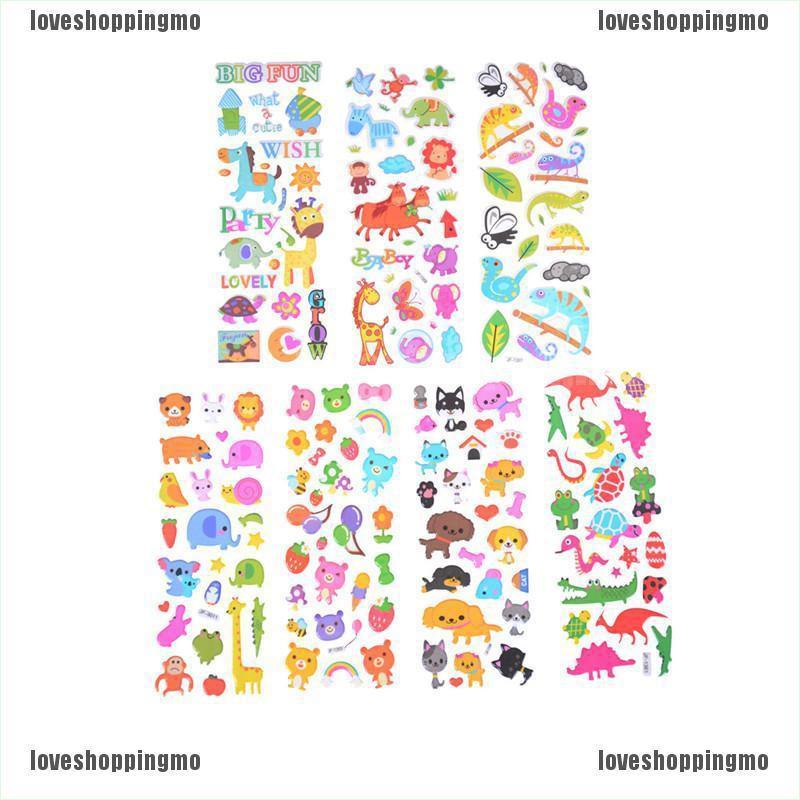 6 Sheets Cute Cartoon Animal Scrapbooking Bubble Puffy Stickers Reward Kids//FO
