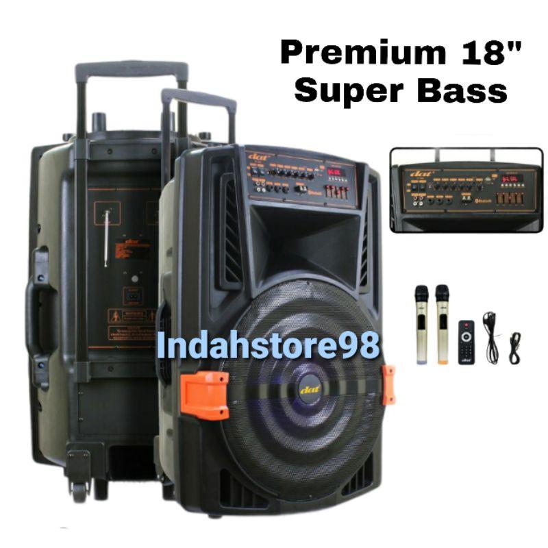 Speaker Aktif Portable DAT 18 inch DT-1809 AC / DC Bluetooth Super Bass 2 Mic Wireless Original