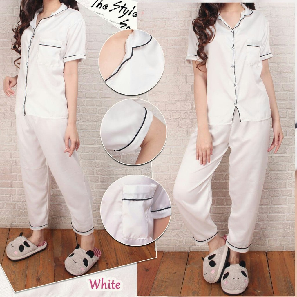 Satin Pajamas Putih Cp Baju Tidur 0150 Rde Fashion Wanita Murah Piyama Wani