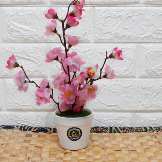Oke Price Bunga Sakura Plastik Hias Artificial Pot Ember Shopee Indonesia