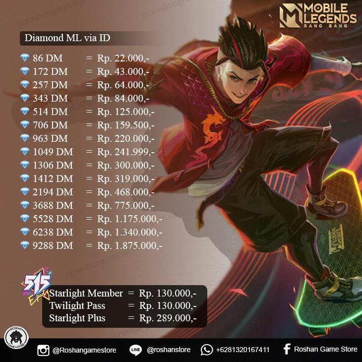 Top Up Diamond Mobile Legends DM ML Murah (172, 257, 344, 514 DM)