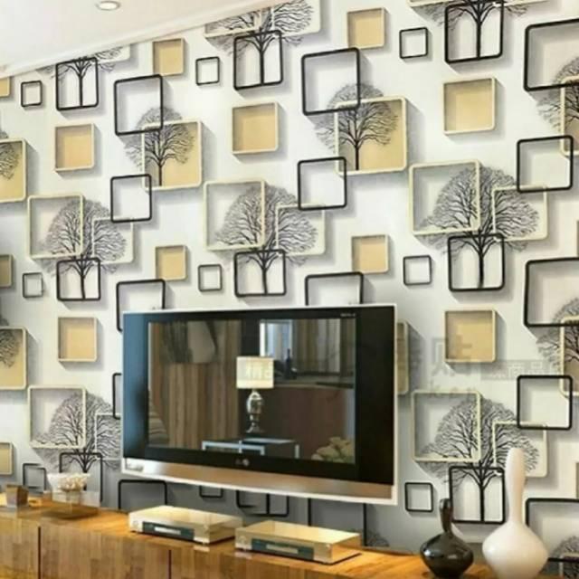 Wallpaper Dinding Murah Medan Wallpaper Dinding Motif 3d Kotak Kuning