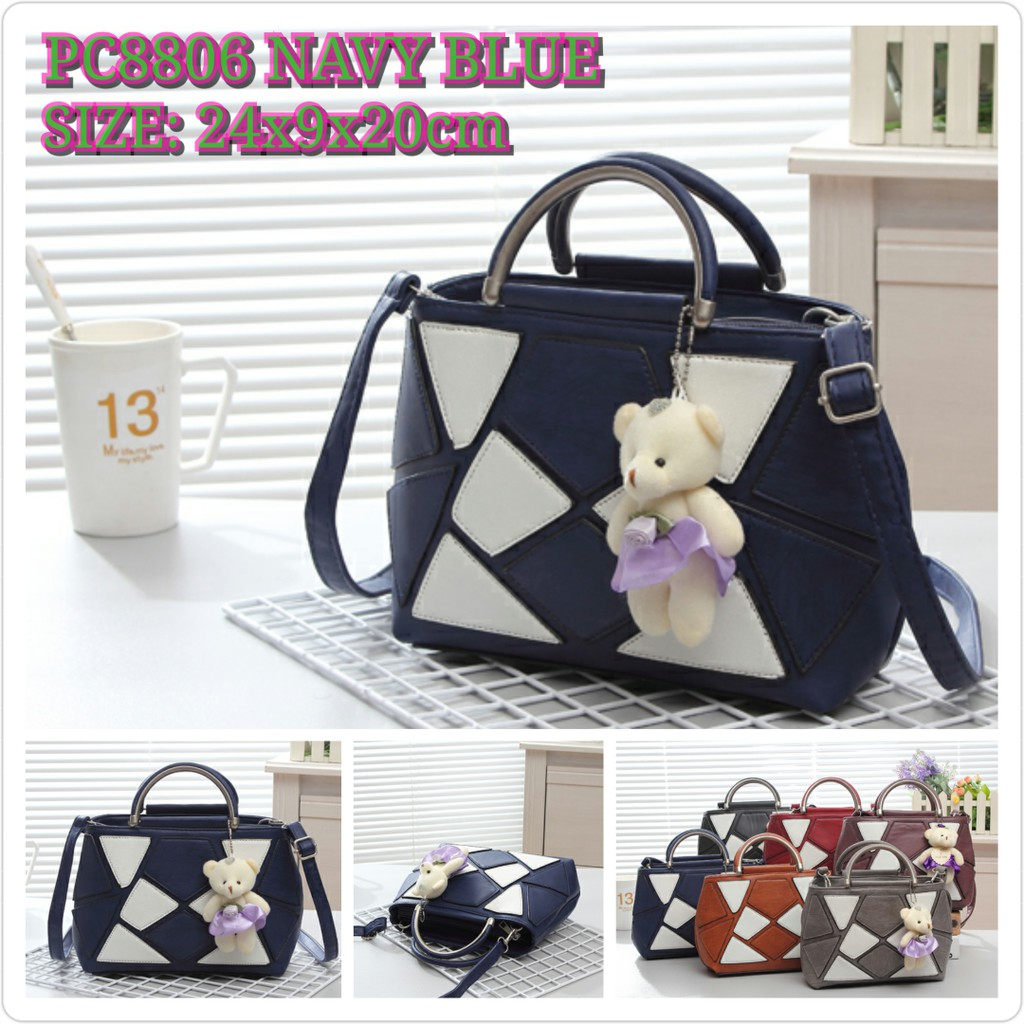 PC8806 NAVY/GRAY/RED/BROWN/PURPLE/BLACK BAHAN KULIT SIZE 24X9X18 TAS FASHION IMPORT READY MEDAN | Shopee Indonesia