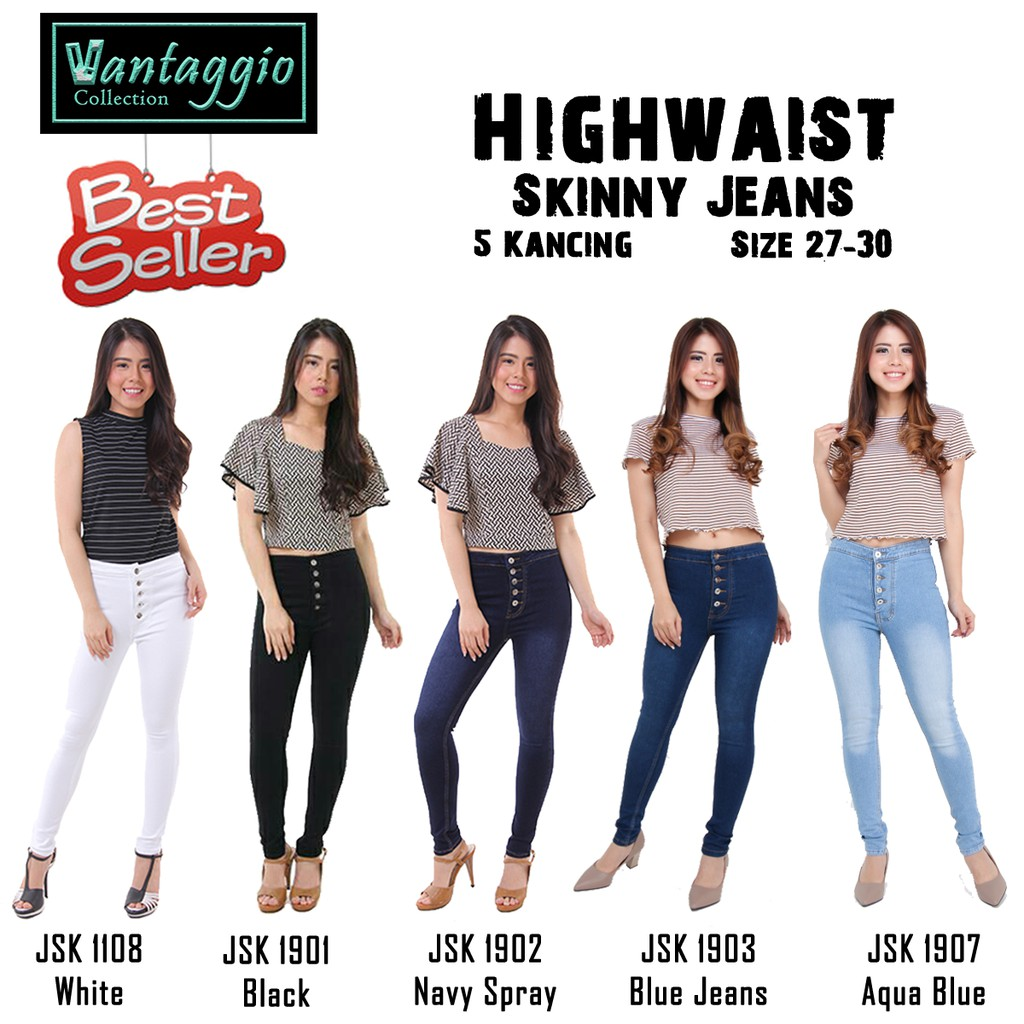 Movement Jeans Hw Kancing 5 Wanita High Waist Highwaist Celana Black Premium Size 27 30 Ukuran 28 29 31 32 33 34 Shopee Indonesia