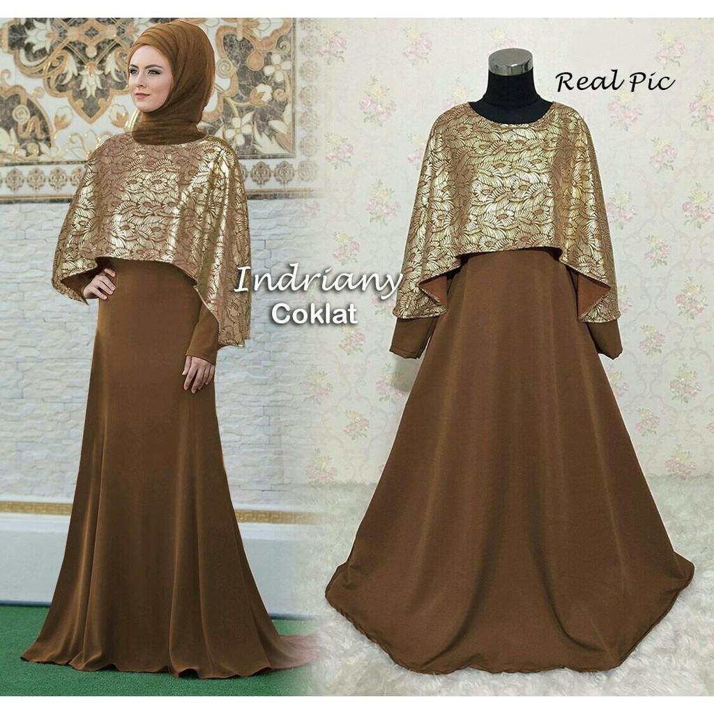 Ready Baju Gamis Gaun Pesta Muslim Remaja Modern Sarina Warna Hitam