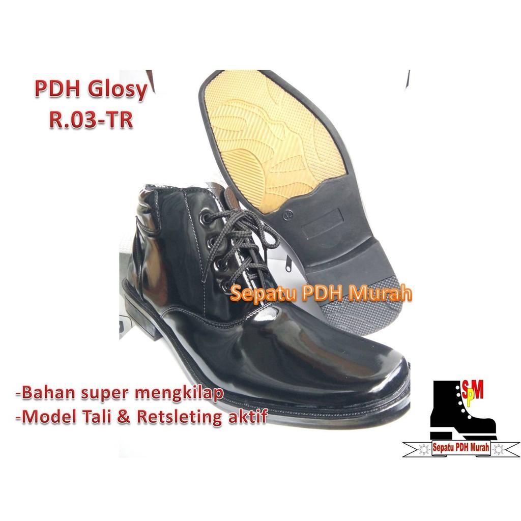 Sepatu Pdh Mengkilap Seri R 03tr Standar Polri Terbaru Best Seller Tali Ressleting New Model Shopee Indonesia